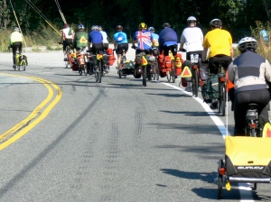 On the road in northern Washington State;  I'm in the yellow shirt. [Photo: Dan Farrell]