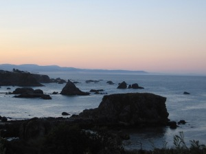 In the distance, the coast of California.