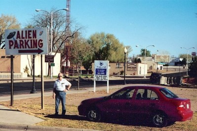 Dad wonders why he's the only one parked here in Roswell, New Mexico.