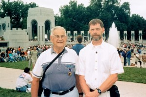 Dad and I at the opening of the National World War II Memorial in Washington, D.C., 2004.