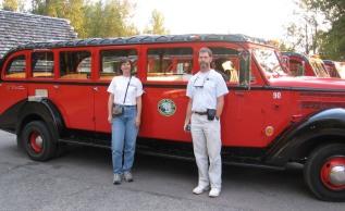 A vintage touring car, Glacier National Park.