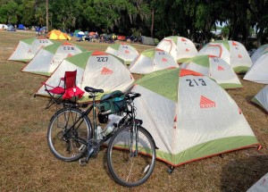 Tent rentals at Bike Florida.