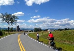 Biking through the Vermont countryside.