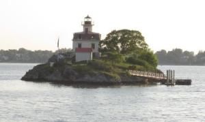 Pomham Rocks Lighthouse near Providence is an especially photogenic site along the trail. [Photo: TrailLink]