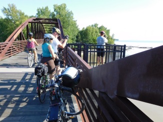 The trail passes lakefront parks and the city's waterfront and crosses the Winooski River.