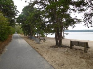 This beach on Seymour Pond south of Brewster makes a nice rest or picnic stop.