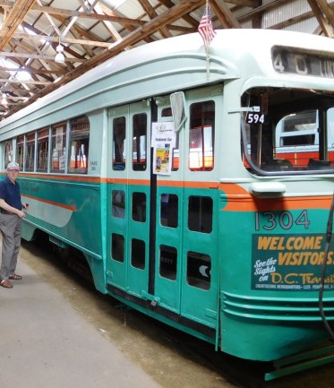 This streetcar, with its distinctive teal and orange color scheme, was built in 1941 for the Capital Transit Company of Washington, D.C.
