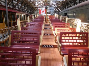This 1906 roofless observation car with tiered seating was used for sightseeing in Montreal, Quebec.