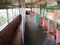 The interior of the Boston trolley car brought back memories. Note the spacious aisle created by the seating arrangement.