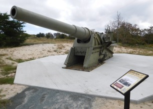 The 8-inch guns like this one that were installed at Fort Miles were mounted on railroad cars to make them mobile and easier to position.