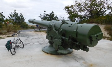 Another 8-inch gun aimed out to sea. A nearby battery, concealed in the dunes, is being restored and will house a museum focusing on Delaware's role in World War II.