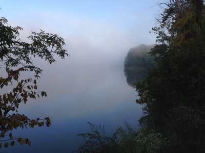 Biking along the edge of the world: fog on the Potomac River.