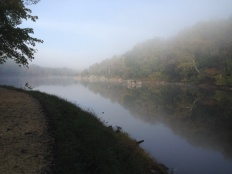 Mile 13: The beautiful Widewater section of the canal in the morning fog.