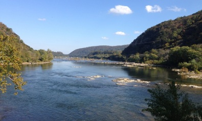 The view down the Potomac River from Harpers Ferry, where the Shenandoah River flows into the Potomac from the right.