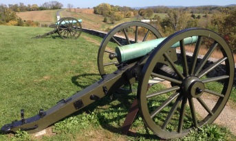 Cannons overlook the Burnside Bridge, another battlefield landmark, where for three hours a few hundred Confederates held off a much larger Union force trying to cross the bridge.