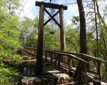 The Civilian Conservation Corps build many of the structures in O'Leno State Park in the 1930s, including this suspension bridge over the Santee River. Just downstream, the river disappears underground and then reemerges more than three miles away.