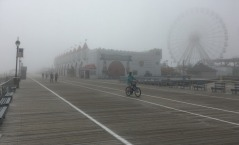 When we arrived in Ocean City, New Jersey, in mid-afternoon in late May, a heavy fog obscured the boardwalk, something we had never seen. Here it softens our view of the Wonderland amusement park and its Ferris wheel.