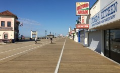 An advantage of visiting Ocean City in mid-week just before the summer season begins: the boardwalk is almost empty, despite perfect weather. We spent a couple of days biking in Ocean City and farther south in Cape May.