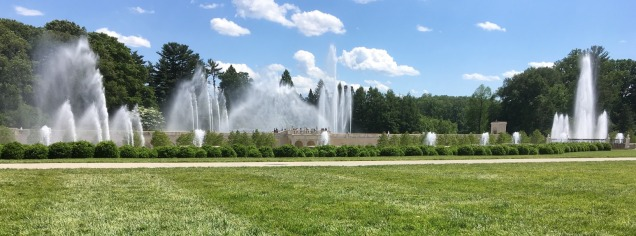The enormous main fountain complex at Longwood Gardens near Kennett Square, Pennsylvania, finally reopened this year after a complete reconstruction project that took several years. The massive fountain display—only part is pictured here—is even better than before.