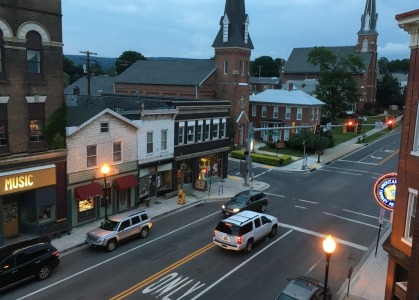 We rendezvoused with Tad and Lea, our cycling friends from New York, in Frostburg, Maryland, to bike a couple of sections of the renowned GAP trail in western Maryland and southern Pennsylvania. We stayed at the historic Gunter Hotel in downtown Frostburg. This view is from the hotel balcony overlooking Main Street.