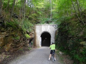 Here we pause before entering the far longer Big Savage Tunnel. At 3,295 feet long—nearly 2/3 of a mile—it is the longest tunnel on the GAP trail. The lights inside help a lot.