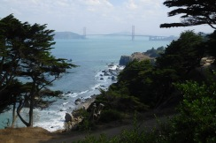 Trails with lovely views of the coast and the Golden Gate Bridge thread through the area of San Francisco known as Lands End. It is part of the Golden Gate National Recreation Area, which includes much of the coastal areas north and south of the bridge.