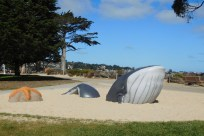 A fanciful whale and starfish sculpture along the bike path in Monterey.