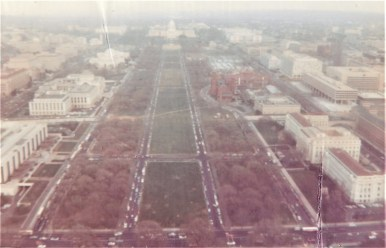 Many changes to the National Mall are apparent from this view, from the streets running down its center to the absence of museums and monuments built since 1969.