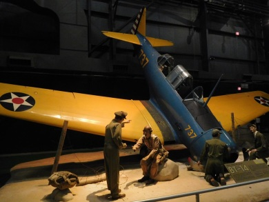 A pilot trainee gets chewed out after a bad landing. Yellow wings denoted a training airplane.