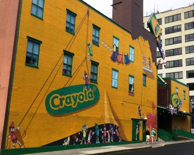 Crayola Crayons are manufactured near Easton, Pennsylvania, the town that marked the start of my ill-fated Pennsylvania Sojourn bicycle tour in June (see previous post). The Crayola Experience, right in the center of town, is not a factory but rather an interactive center offering hand-on activities for kids. The three-story mural covering the backside of the building is quite creative.