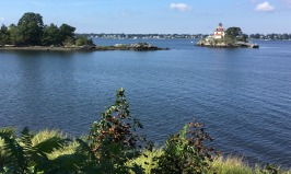 The historic (1871) Pomham Rocks Lighthouse is on an island just offshore of East Providence, Rhode Island. I took this photo of it from the East Bay Bike Path.