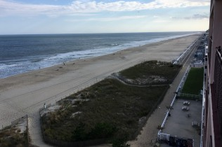 The view south from our 7th-floor balcony. The boardwalk begins (or ends) just beyond the hotel.