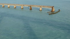Old highway bridge from the top of the Seven-Mile Bridge, Florida Keys.