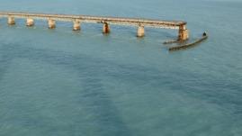 Old highway bridge from the top of the Seven-Mile Bridge, Florida Keys.