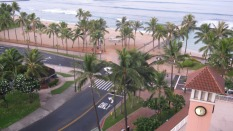 The beach at Waikiki on Oahu from the lanai of my 9th-floor room.