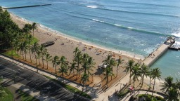 The beach at Waikiki on Oahu from the lanai of my 18th-floor room.