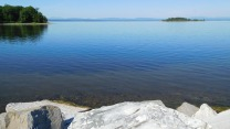Lake Champlain, Vermont, from the Island Line Trail causeway across the lake.