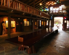 The 38-foot-long, single-piece mahagony table in the Hall of Giants.