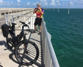 Bob and his e-bike on the Long Key bridge. In my rearview mirror, he looked a bit too relaxed while biking against the wind.