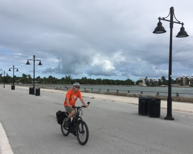 Bob biking up the White Street Pier in Key West.