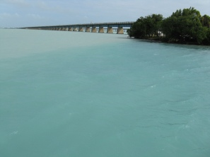 The spectacular colors of the waters are hard to capture. This is a shot of the old Seven Mile Bridge I took in 2009.