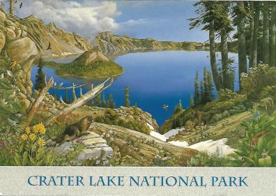 A painting of Crater Lake by Larry Eifert of Ferndale, California.