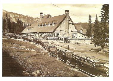 "These ""auto-stages"" at Paradise Inn in Mount Rainier National Park transported people between the park and nearby cities in the early 20th century."