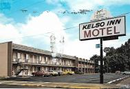 The Kelso Inn Motel (51 units) in Kelso, Washington, advertising individual air conditioning, direct dial phones, cable color TV, and even water beds.