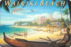 "Kerne Erickson has painted many retro-style images of Hawaii, including ""Waikiki Beach."" That's the famous Royal Hawaiian Hotel (the ""Pink Palace"") in the background."