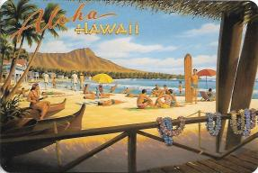 """Aloha Hawaii"" by Kerne Erickson presents a classic view of Diamond Head."