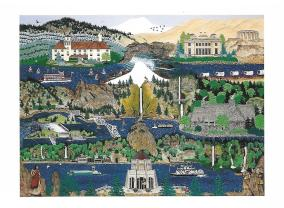 "Artist Jennifer Lake Miller created a series of delightful paintings called ""Celebrate Oregon"" that appeared on notecards and tee-shirts. ""Columbia River Gorge"" depicts the Columbia Gorge Hotel, the Vista House at Crown Point, Bonneville Dam, Mount Hood, Multnomah Falls and Lodge, several other waterfalls, and much more."