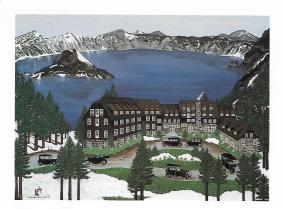 "Jennifer Lake Miller's painting ""Crater Lake Lodge"" depicts the original lodge in the early 1900s. The artist herself appears to be at work at the lower left."
