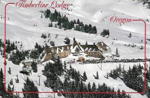 "The Timberline Lodge on Mount Hood in Oregon famously appeared as the Overlook Hotel in Stanley Kubrick's film ""The Shining."" The rustic interior looks nothing like the hotel in the movie."