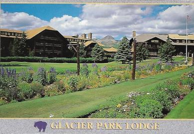 Glacier Park Lodge is one of several impressive Swiss chalet–style rustic lodgings in Glacier National Park in Montana, all built by the Great Northern Railway in the early 1900s. The Amtrak railway station is just a short walk away.